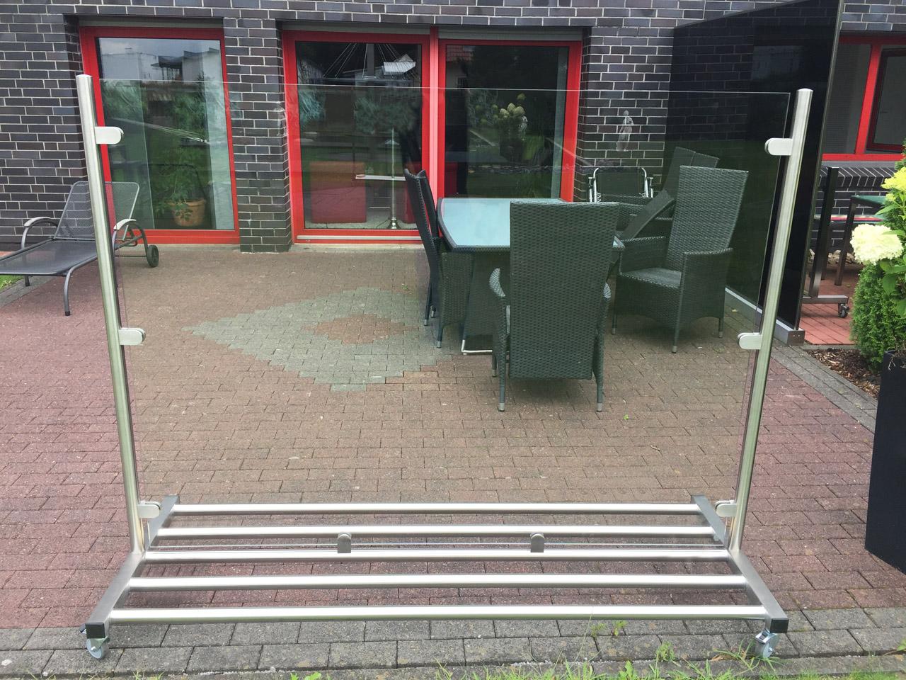 Mobiler Glas Windschutz Fur Balkon Garten Terrasse Meitinger