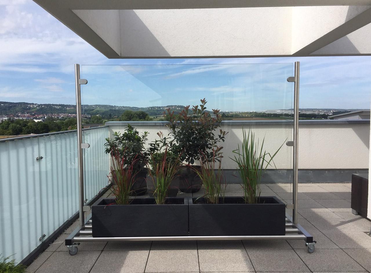 mobiler glas windschutz fuer balkon garten terrasse